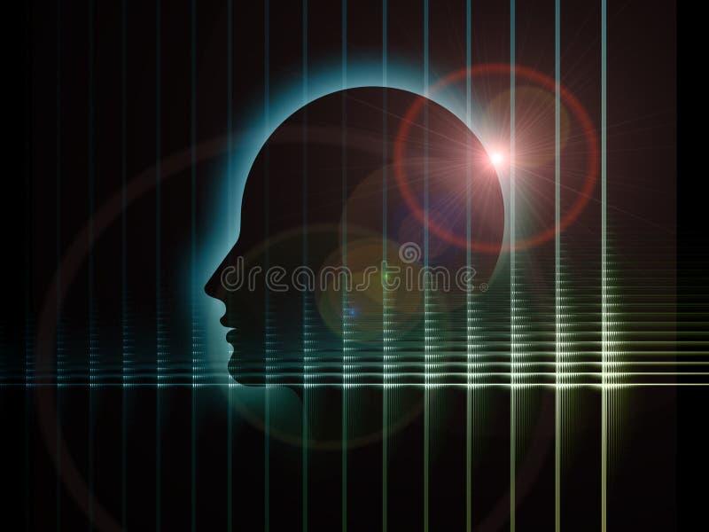 头脑的数字式透视 向量例证