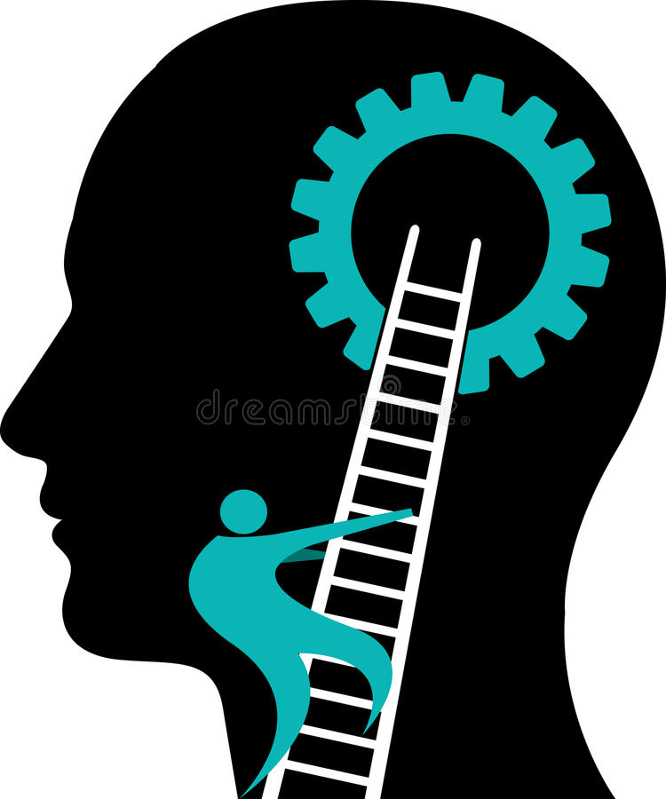 头脑齿轮商标 库存例证