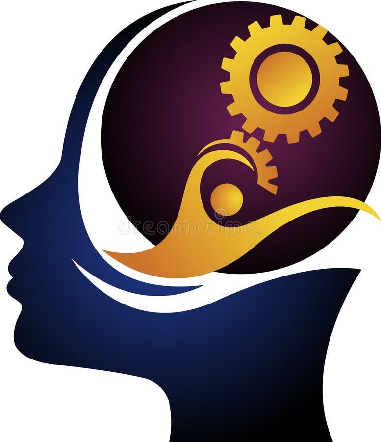 头脑齿轮商标 向量例证