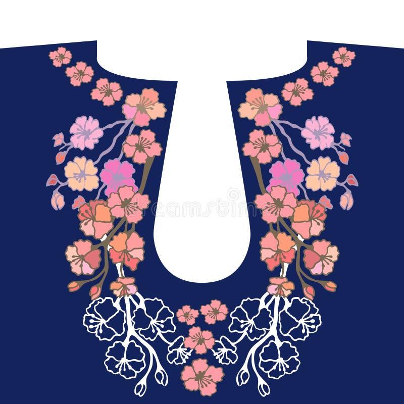脖子刺绣设计 库存例证