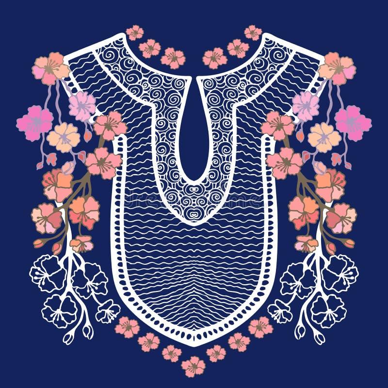 脖子刺绣设计 皇族释放例证