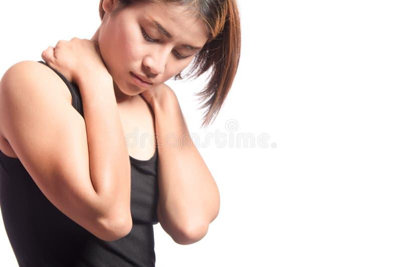 脖子和肩膀痛苦 免版税库存图片