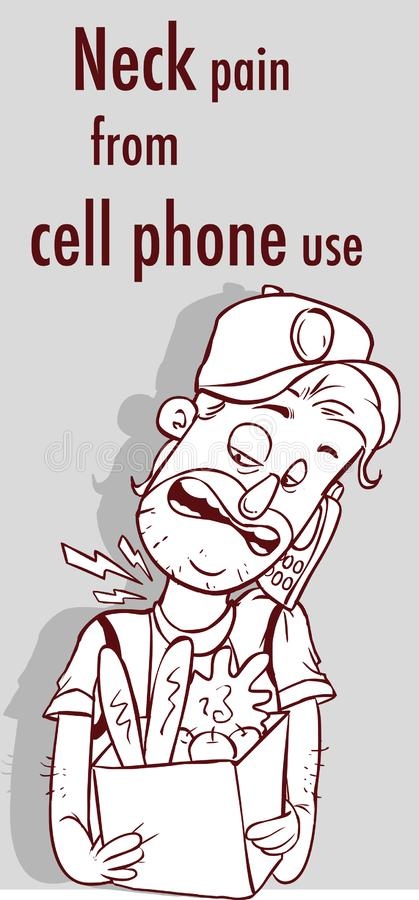脖子痛的传染媒介例证从手机用途的 皇族释放例证