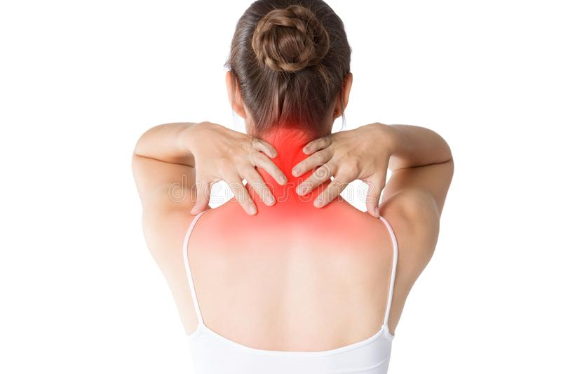 脖子痛,在白色背景以腰疼隔绝的妇女 免版税库存照片