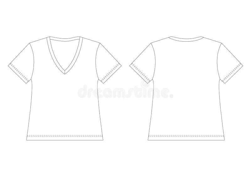 脖子衬衣t v白色 库存例证