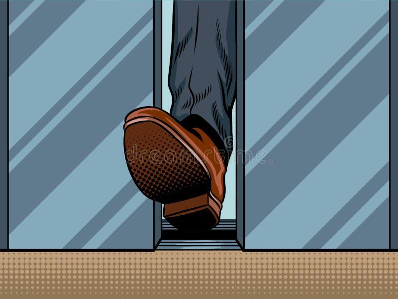 脚举行闭合值的电梯门流行艺术传染媒介 皇族释放例证