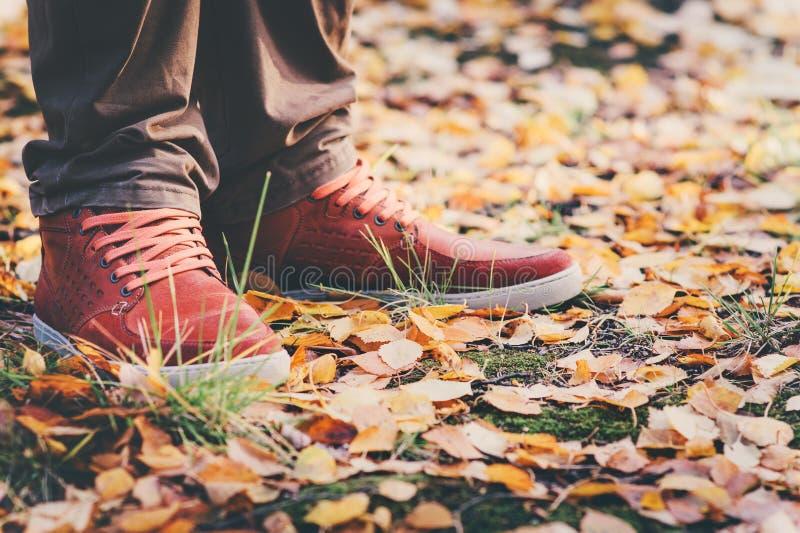 脚人走在公园的皮革运动鞋 免版税库存图片