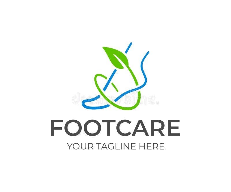 脚关心商标设计 脚腕和绿色分支与叶子传染媒介设计 库存例证