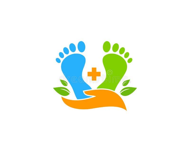 脚关心象商标设计元素 库存例证