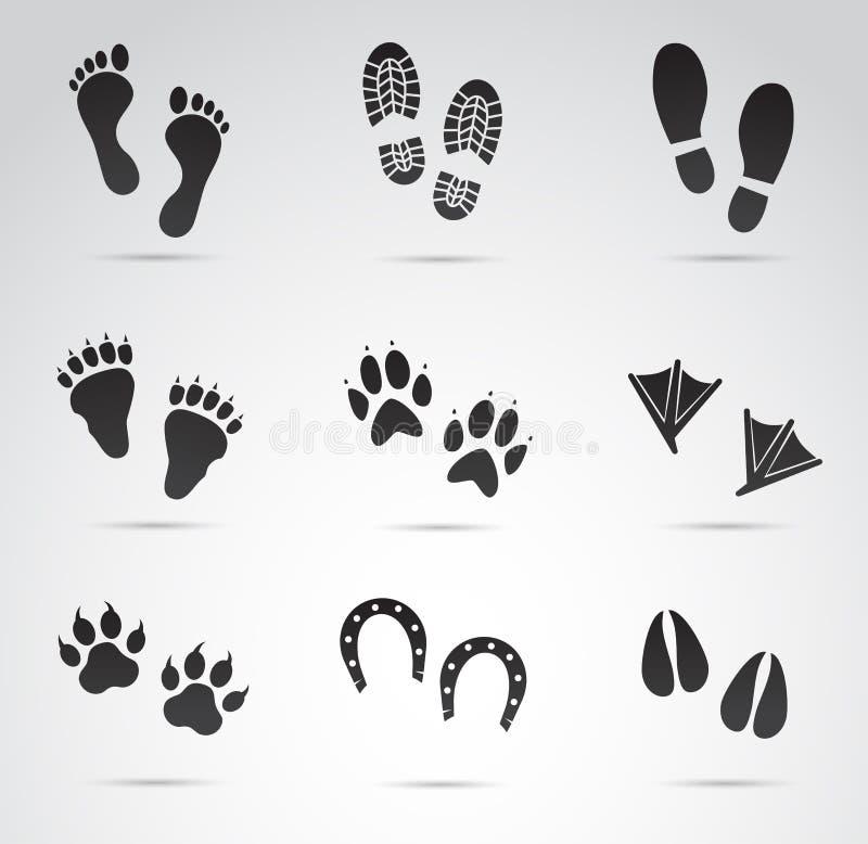 脚印传染媒介象集合 免版税库存照片
