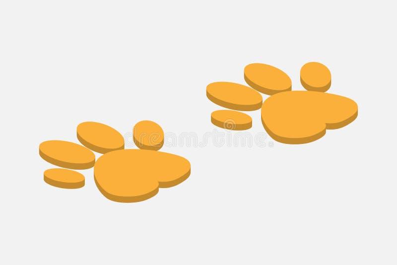 脚印动物狗或猫在等量设计在灰色背景 库存例证