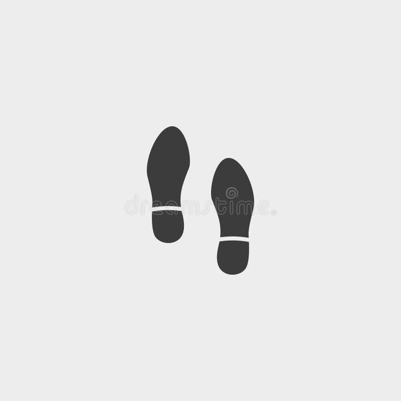 脚印在一个平的设计的鞋子象在黑颜色 向量例证EPS10 向量例证