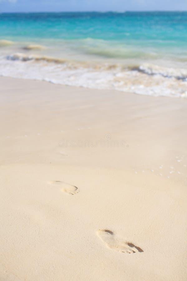 脚印沙子 图库摄影