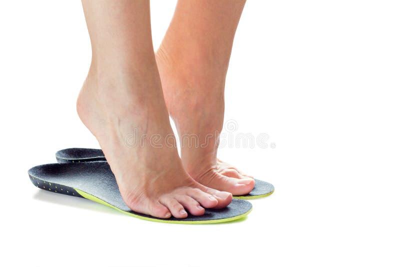 脚和矫形皮鞋的内底 图库摄影