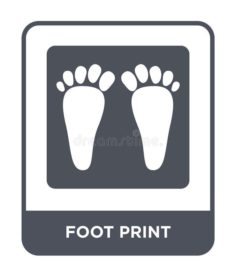 脚在时髦设计样式的印刷品象 脚在白色背景隔绝的印刷品象 脚印刷品现代传染媒介的象简单和 向量例证