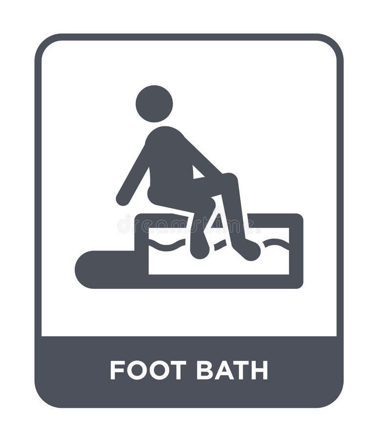 脚在时髦设计样式的浴象 脚在白色背景隔绝的浴象 脚浴传染媒介象简单和现代舱内甲板 皇族释放例证