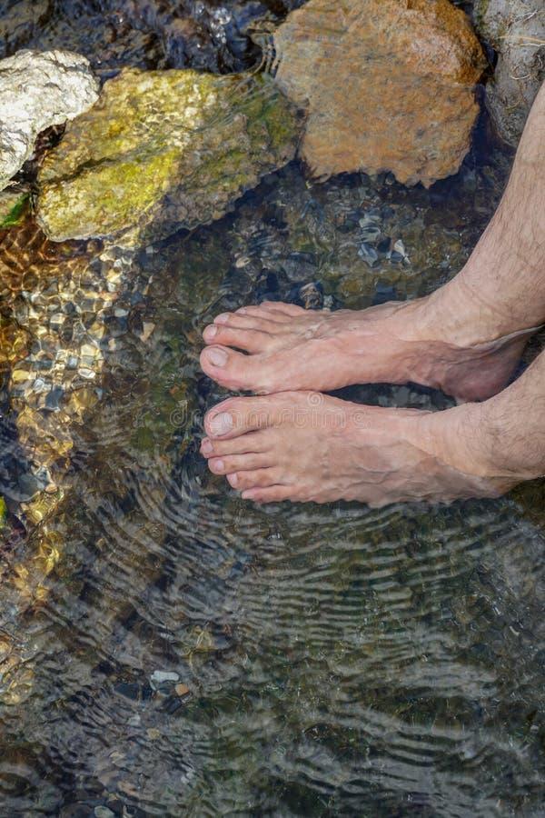 脚无危险浸没了河的水 库存照片