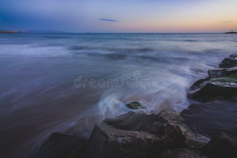 脚趾海滩日落 库存照片