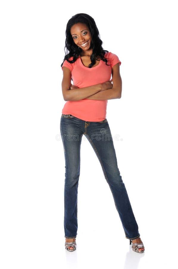 脚跟高牛仔裤妇女 免版税库存照片