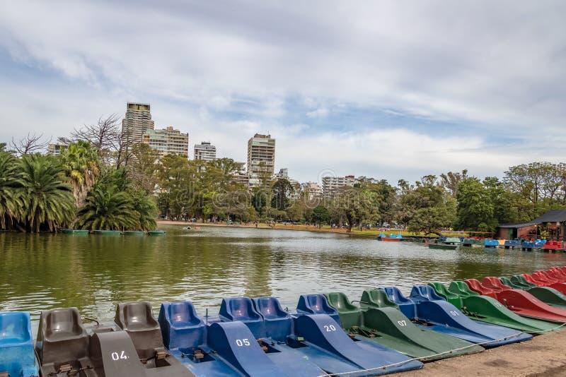 脚蹬小船和湖Bosques的de巴勒莫-布宜诺斯艾利斯,阿根廷 免版税库存图片