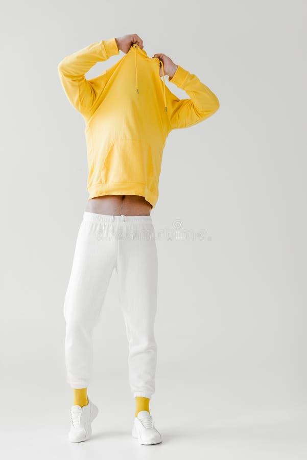 脱在白色的年轻人黄色有冠乌鸦 免版税库存照片