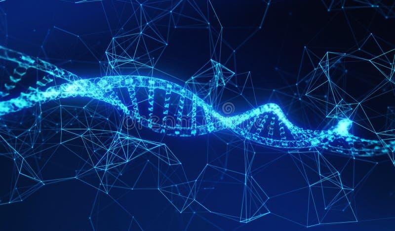 脱氧核糖核酸、螺旋式样医学和网络连接线 向量例证