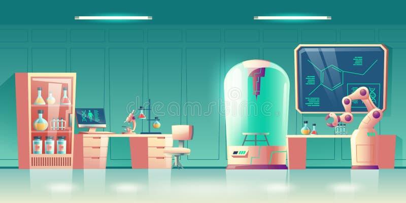 脱氧核糖核酸修改科学实验室动画片传染媒介 库存例证