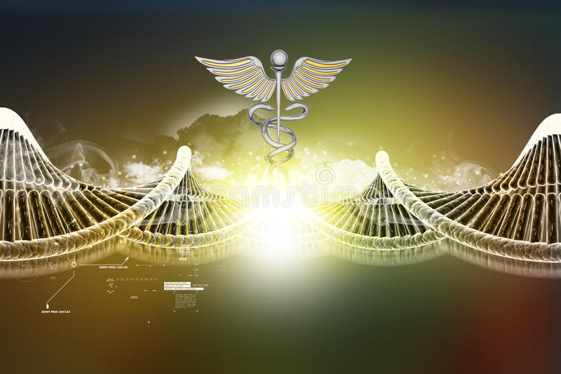 脱氧核糖核酸和众神使者的手杖标志 皇族释放例证