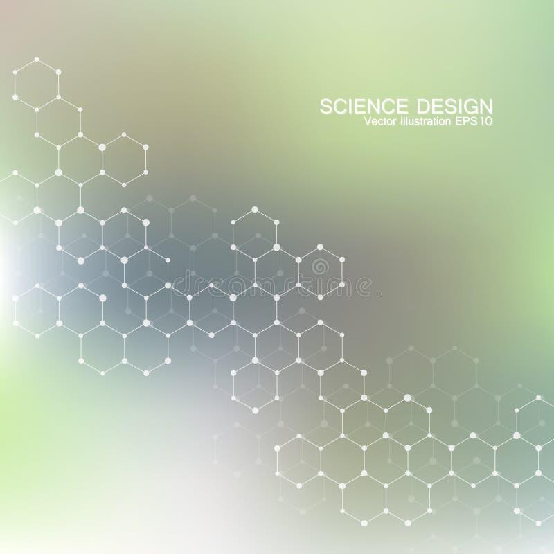 脱氧核糖核酸和神经元结构分子  结构原子 化合物 医学,科学,技术概念 库存例证