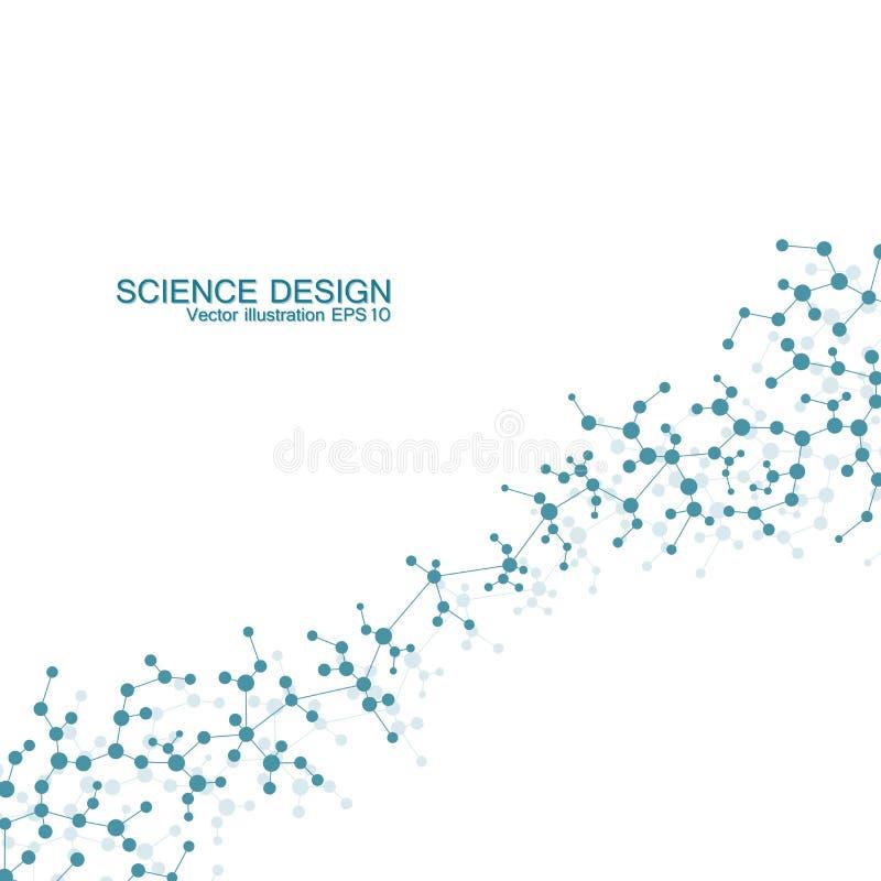 脱氧核糖核酸和神经元结构分子  结构原子 化合物 医学,科学,技术概念 皇族释放例证