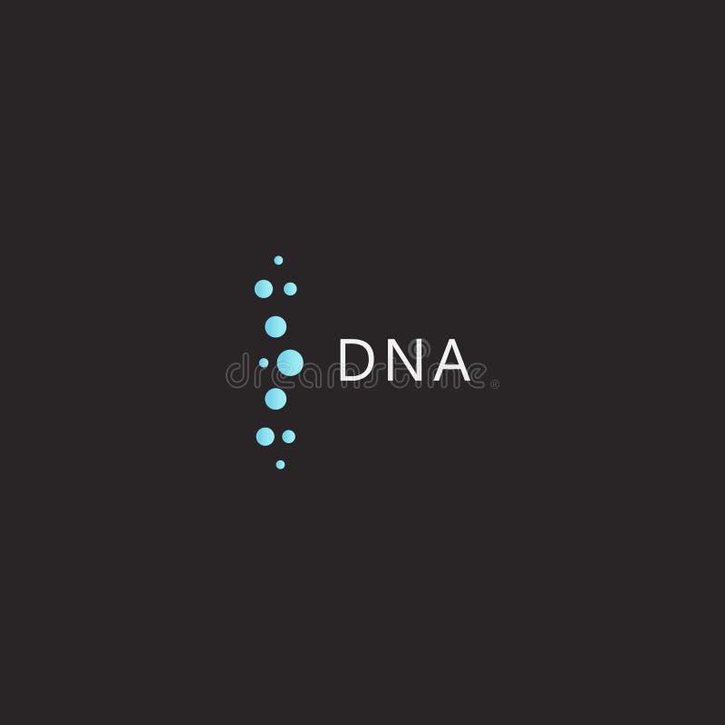 脱氧核糖核酸商标模板,医疗创新技术,脱氧核糖核酸科学发展标志,在黑背景的传染媒介象 皇族释放例证