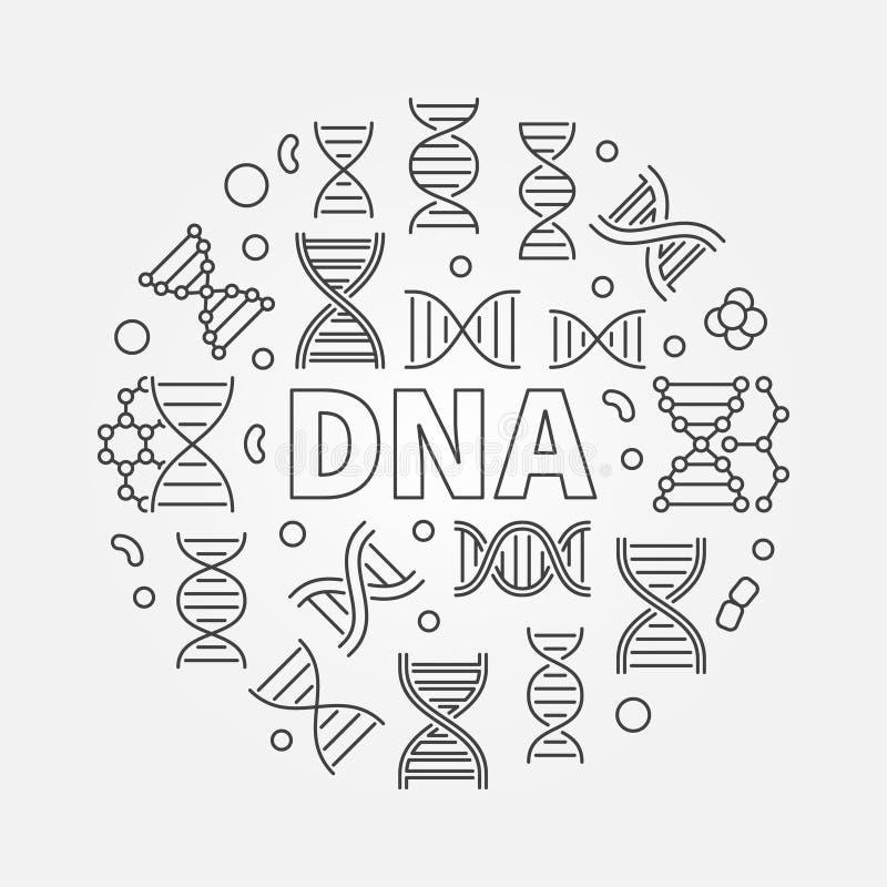 脱氧核糖核酸圆的传染媒介科学例证或标志