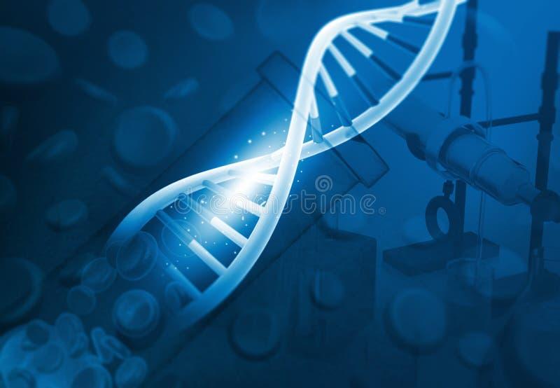 脱氧核糖核酸在化学实验室 免版税库存照片