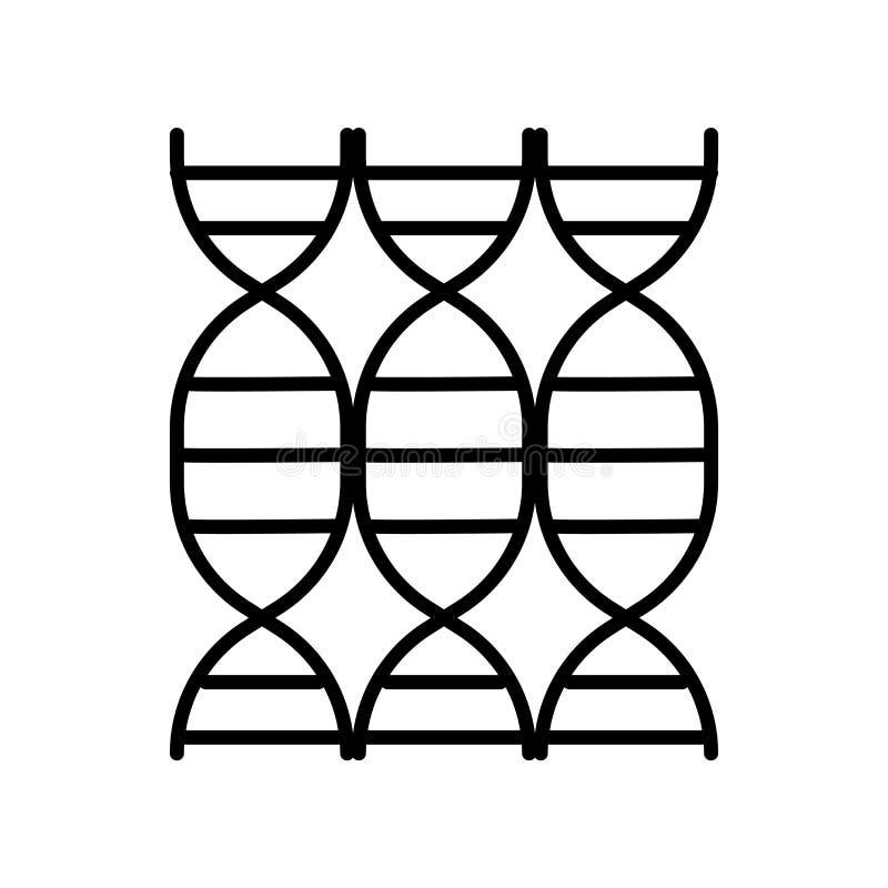 脱氧核糖核酸在白色背景隔绝的象传染媒介,脱氧核糖核酸标志,稀薄的线在概述样式的设计元素 向量例证