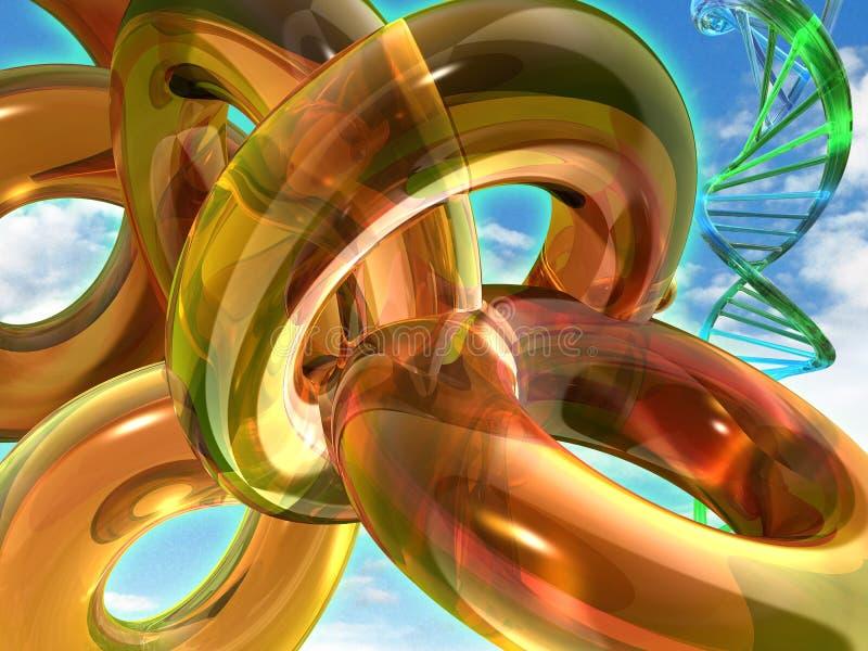 脱氧核糖核酸字符串环形线圈黄色 皇族释放例证