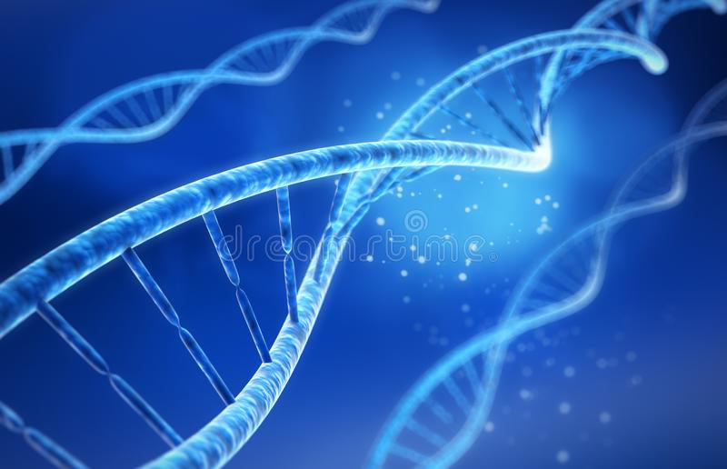 脱氧核糖核酸-医疗3D例证 库存例证