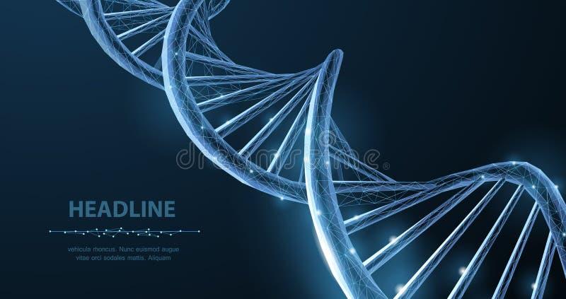 脱氧核糖核酸 在蓝色的抽象3d多角形wireframe脱氧核糖核酸分子螺旋螺旋 皇族释放例证
