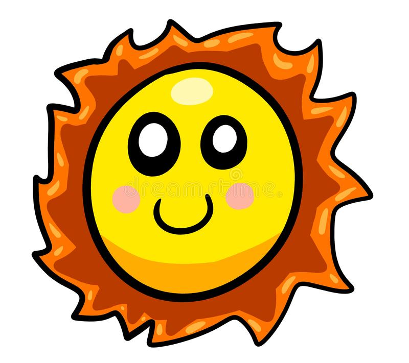 脸红的微笑的动画片太阳 向量例证