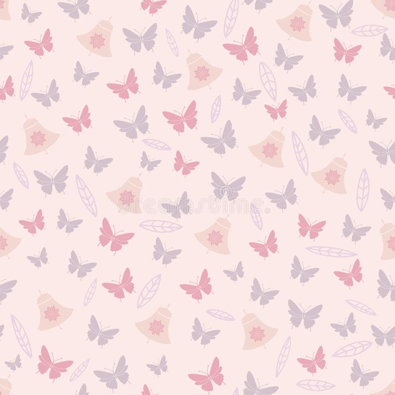 脸红蝶粉花叶子,并且响铃反弹茶党无缝的样式 向量例证