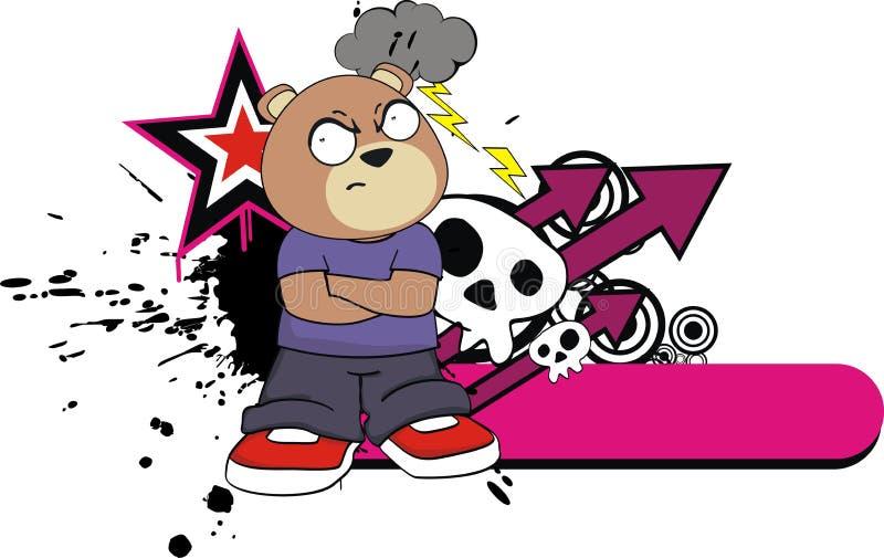 脾气坏的孩子玩具熊动画片贴纸 库存例证