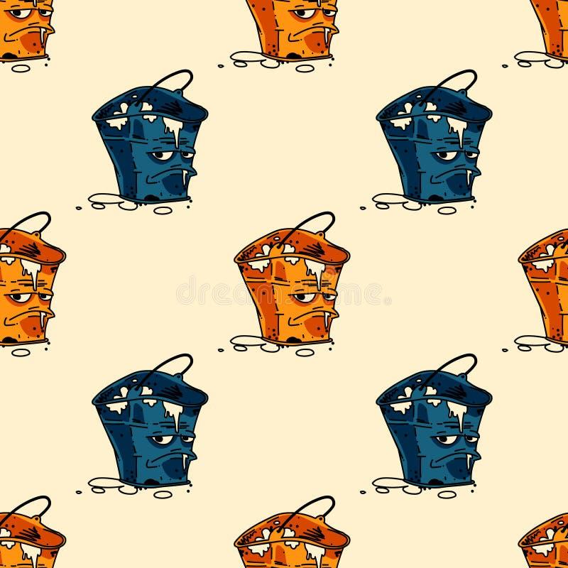 脾气坏的废桶无缝的样式 向量例证