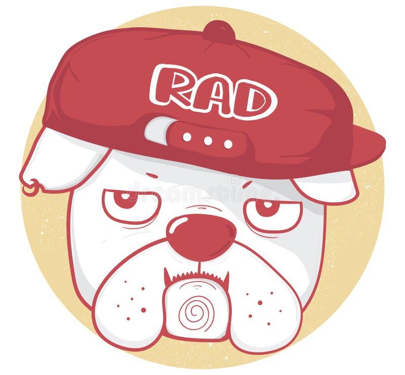 脾气坏的牛头犬穿戴棒球帽的面孔有RAD文本的,在红色葡萄酒样式的画的概述 皇族释放例证