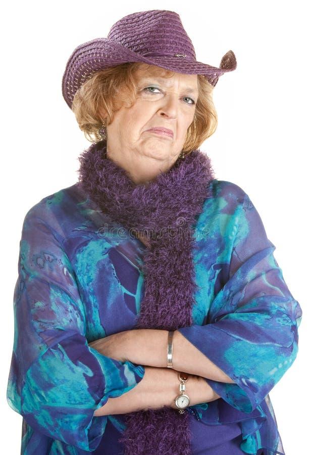 脾气坏的老妇人 免版税图库摄影