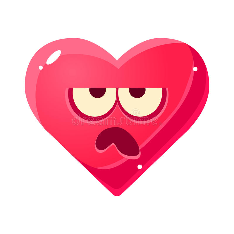 脾气坏的Emoji,桃红色与爱标志意思号漫画人物的心脏情感表情被隔绝的象 库存例证
