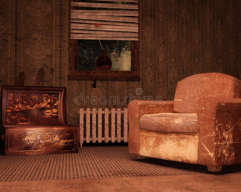 腐朽的室背景 库存例证