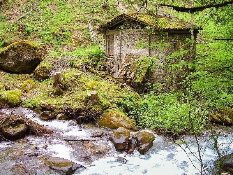 腐朽的老watermill在Stanghe峡谷,意大利 库存图片