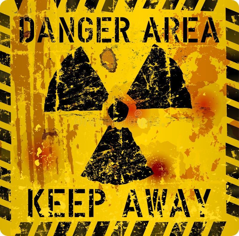 腐烂的原子辐射警报信号, 向量例证