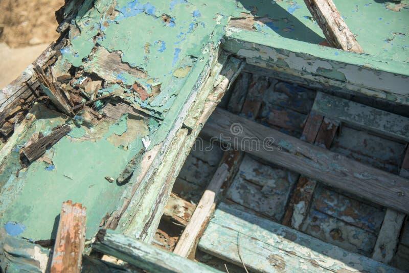 腐烂的希腊小船细节 免版税库存图片