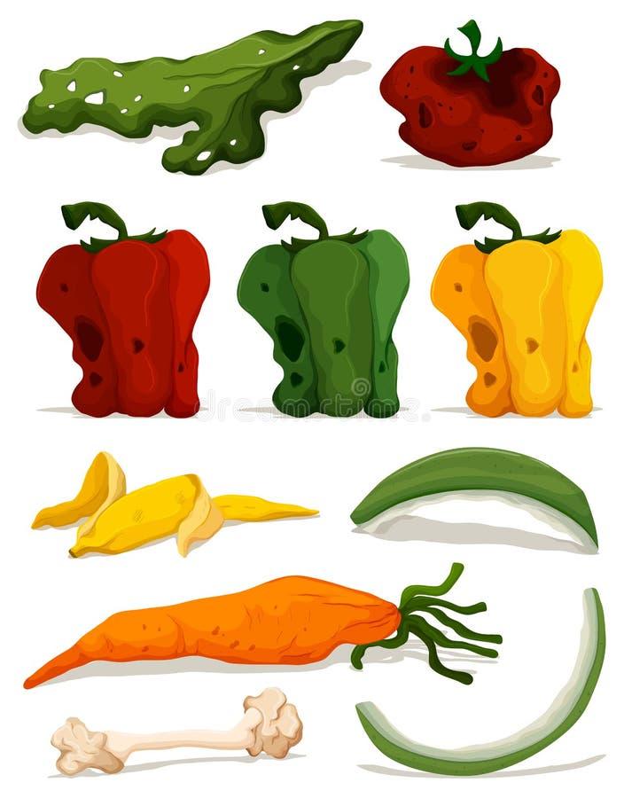腐烂的菜的不同的类型 向量例证