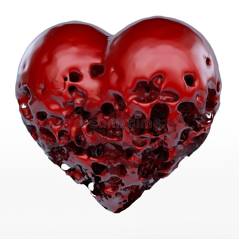 腐烂,病态的心脏 库存例证